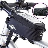 BTR Fahrradtasche und Handy-Halterung - wasserabweisende Fahrradtasche. Schwarz fahrradrahmentasche. Fahrrad Handyhalterung