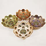 Set Of 4 Pcs Hand Crafted Metal Brass Fruit Bowl With MINAKARI Work, Bowl For Serving, ERFECT For Home Decoration And Gifting(Assorted Color)