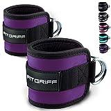 Fitgriff Fußschlaufen (gepolstert) (2Stück) - für Fitness Training am Kabelzug - Ankle Straps für Frauen und Männer - 2 Jahre Gewährleistung (Violett)