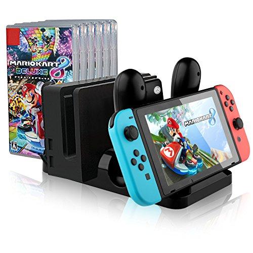IVSO Nintendo Joy-Con Ladegerät Dockingstation Kompakt mit TYPE-C Lade-Port Multi-Funktion Ladegerät für Nintendo Switch Console mit Joy-Con, Pro Controller, Dock und Game Card Storage (Schwarz)