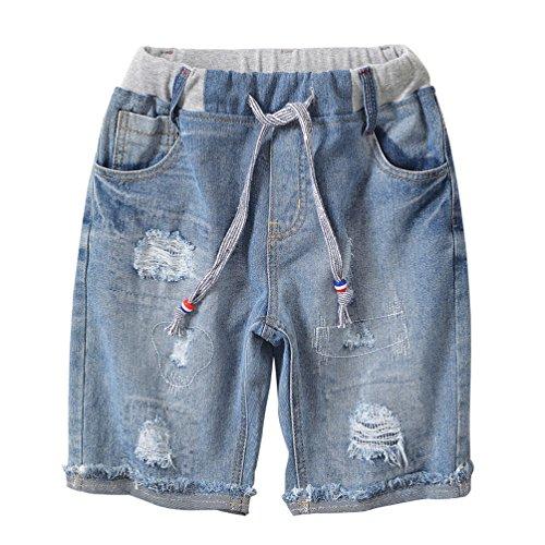Lau's pantaloncini jeans ragazzo strappati pantaloncino shorts bermuda pantaloni corti estate 9-10 anni