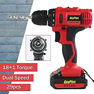 21V Cordless Combi Drill & Impact Driver Set Quick Charge with 2X 1.5Ah Li-ion, 45N.m Torque, Variable Speed, 18+1 Torque Setting, Double Crosshead Screwdriver, Carrying Case Included