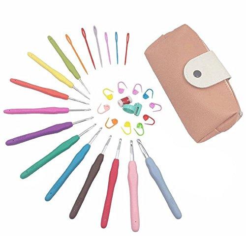 Spring 11pcs Regenbogen häkeln Set Ergonomische weiche Gummi Comfort Grip Häkelnadeln mit 19 Stück Zubehör( Rosa)