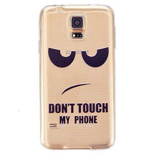 TKSHOP Case Cover Per Samsung Galaxy S5 Custodia TPU Silicone Gel Morbido Trasparente Caso Anti-impronte digitali Antigraffio Bello Dipinto - Furioso Dont Touch My Phone