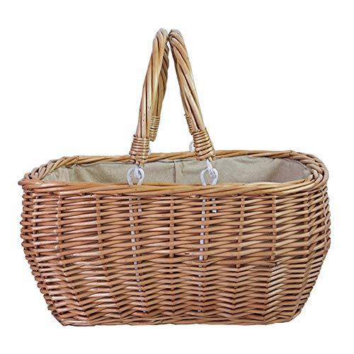 Byx- Picknickkorb - japanischer Rattan gewebt Picknickkorb tragbarer Einkaufskorb Obstkorb Kleinigkeiten Aufbewahrungskorb (3 Stile zur Auswahl) - Picknickkorb (größe : 42x30x19cm) (Gürtel Hände, Skelett,)