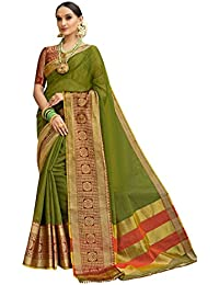 Pisara Women Banarasi Cotton Silk Saree With Blouse Piece,Olive Green Sari
