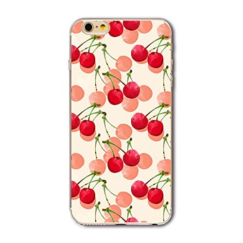 Coque iPhone 6/6S Housse étui-Case Transparent Liquid Crystal en TPU Silicone Clair,Protection Ultra Mince Premium,Coque Prime pour iPhone 6/6S-Géométrique Cerise