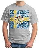 OM3® - SCHWEDEN - T-Shirt Sweden Sverige Fussball World Cup Soccer Fanshirt Sport Trikot, 4XL, Grau Meliert