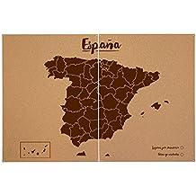 Miss Wood Woody Map XXL - Mapa del mundo de corcho con diseño España , color marrón