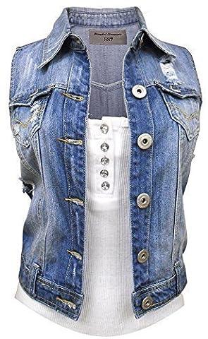nouveau Denim Femmes Veste Gilet Jean Taille 36 38 40 14 16 - Jean Bleu, EU 38