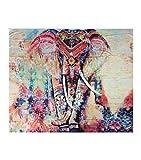 LvRao Indische Elefanten Mandala Tapisserie, Blumen Tapisserie, Stranddecke, böhmische Wand hängen Orange #1 L:210*150cm