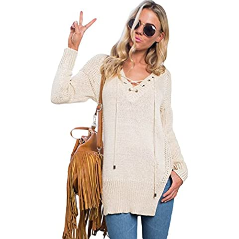 Señoras Crema laterales Loose Fit Jersey, Jersey, punto wear, Causal Wear tamaño UK 8