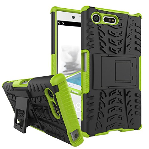 MRSTER Sony Xperia X Compact Coque - Etui Housse Robuste Protection de Double Couche d'Armure Lourde Antichoc Housse avec Béquille pour Sony Xperia X Compact. Hyun Green