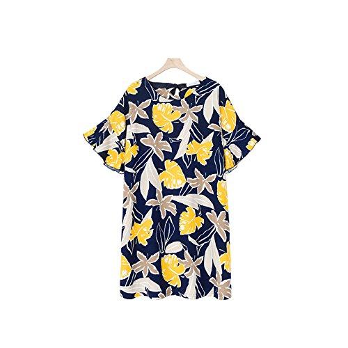 Hrph Mode neue Frauen-Sommer-Blumendruck Chiffon-Kleid O-Ansatz Kurzschluss -Hülsen-Strand Printed Freizeitkleider (Belted Cardigan Cotton)
