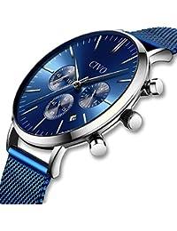 CIVO Relojes Hombre Lujo Impermeable Cronógrafo Multifuncional Negro Azul Moda Relojes de Pulsera Acero Inoxidable Calendario Gents…