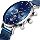 CIVO Herren Uhren Manner Wasserdicht Chronograph Multifunktional Armbanduhren mit Edelstahl Maschenband Schwarz Blau Beiläufig Luxus Elegant Geschäft Mode Analoge Quarz Herren Uhr (Blau/Silber)