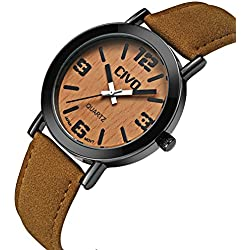 CIVO Men's Women's Genuine Wood Grain Face Wrist Watch Unisex Waterproof Brown Leather Band Business Casual Wooden Watches Japan Movement Fashion Luxury Dress Analogue Quartz Wristwatch