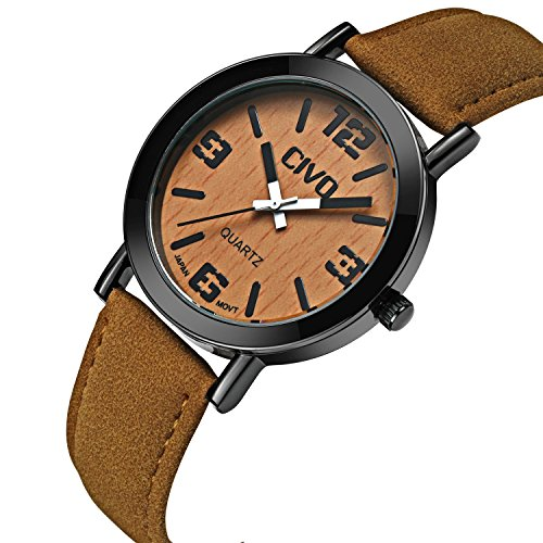 - 51Iejhwmb1L - CIVO Men's Women's Genuine Wood Grain Face Wrist Watch Unisex Waterproof Brown Leather Band Business Casual Wooden Watches Japan Movement Fashion Luxury Dress Analogue Quartz Wristwatch