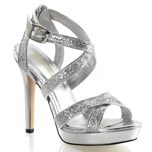 Fabulicious Lumina-21 sexy Burlesque High Heels Plateau Sandaletten, Silber-Glitter, 35-41 Silber-Glitter