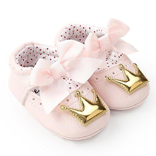 Babyschuhe PU-Leder Lauflernschuhe - Yuiopmo Antirutsch Krippeschuhe Kinderschuhe, Unisex-Baby Mädchen Junge Princess Kleinkind Schuhe Krabbelschuhe Wanderschuhe für 0-18Monate -
