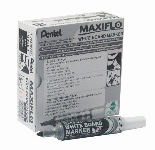 pentel-maxiflo-lot-de-12-marqueurs-effacables-a-sec-tableau-blanc-pointe-biseautee-large-encre-liqui