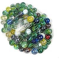 NEEZ Mármoles, Mármoles de Vidrio, Bolas de Cristal, Perlas de Vidrio con Dibujos de Colores para Niños 40/50/100/200/400 Piezas (Pack de 50 canicas)