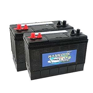 2x Hankook 100Ah Loisirs Batterie, Caravane, Bateau, Camping Car - 4 Ans de Garantie