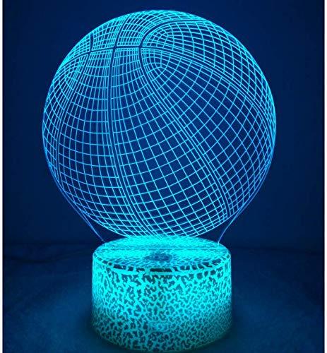 3D Ilusión Optica Baloncesto Luz Nocturna 7 Colores Cambio de Botón Táctil USB de Suministro de Energía LED Lámpara de Mesa Lámpara
