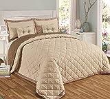 Couvre-lit confortable réversible avec strass - 5 pièces - Pour lit double King size, Polyester, beige, Super king size