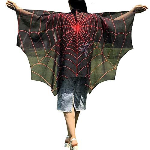 WOZOW Damen Schmetterling Kostüm Fasching Schals Nymphe Pixie Poncho Umhang für Party Cosplay Karneval Fasching (schwarz)