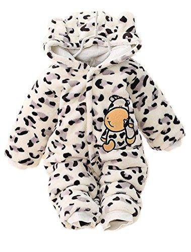 Minetom Verdickte Warm Unisex Baby Overall Strampler Herbst Winter Jungen Mädchen Schlafanzug Säugling Spielanzug Kinder Nachtwäsche Kuh (Kostüme Kuh Säuglings)