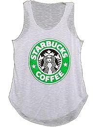 MIXLOT Neue Damen Starbucks Logo Print T-Shirt-Weste Coffee House Graphic Women Casual Vest Top Größe 36-42