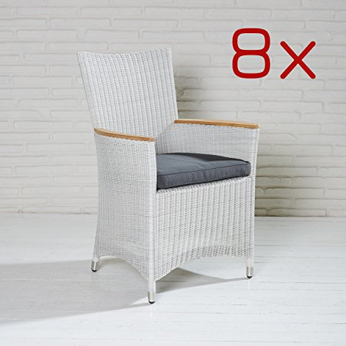 8 gartensessel poly rattan gartenst hle wei gartenm bel stuhl set balkonstuhl g nstig bestellen. Black Bedroom Furniture Sets. Home Design Ideas