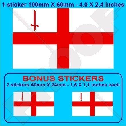 STADT LONDONS Flagge St. George's Cross England Großbritannien UK 100mm Auto & Motorrad Aufkleber, Vinyl Sticker x1+2 BONUS (St George Flagge Aufkleber)