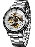 Alienwork IK mechanische Automatik Armbanduhr Herren Damen Uhr Edelstahl Armband Metallarmband Metallband silber Analog Automatikuhr Herrenuhr Damenuhr Unisex weiss Wasserdicht Skelett Sportlich