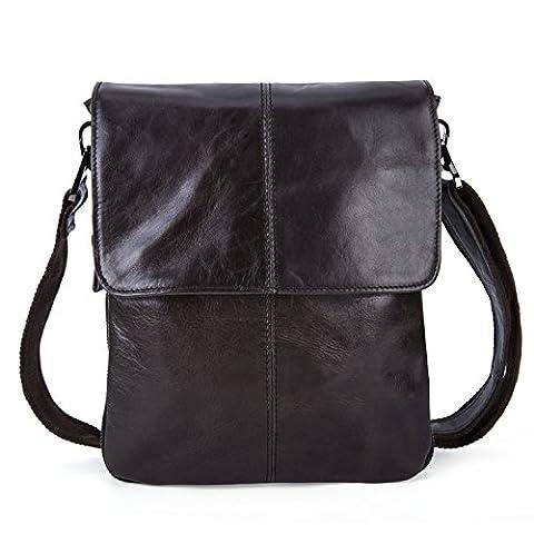 Sac Bandoulière Homme Sac rétro en cuir Sac vintage cartable en cuir pour hommes slim en cuir véritable sac pliage épaule sac de coursier (Cire Noir)