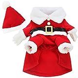 FEESHOW Ropa de Navidad del perro de perrito traje de Santa Claus Rojo L
