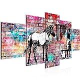 Bilder Banksy Washing Zebra Wandbild 200 x 100 cm Vlies - Leinwand Bild XXL Format Wandbilder Wohnzimmer Wohnung Deko Kunstdrucke Bunt 5 Teilig -100% MADE IN GERMANY - Fertig zum Aufhängen 012951c