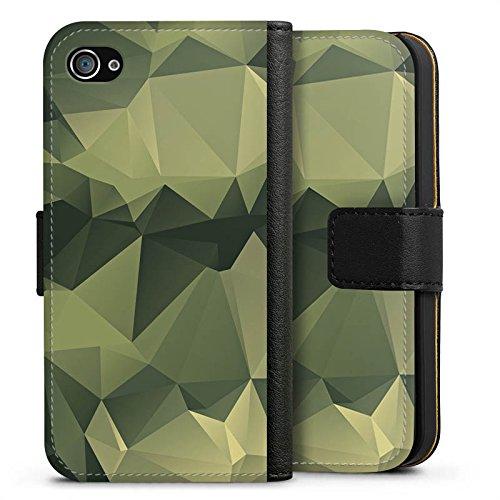 Apple iPhone 7 Plus Hülle Premium Case Cover Camouflage Muster Tarnfarben Sideflip Tasche schwarz
