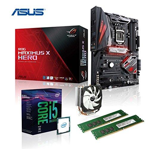 Preisvergleich Produktbild Memory PC Gaming Aufrüst-Kit Intel Core i5-8600K 8. Generation (SixCore) Coffee Lake 6x 3.6 GHz,  ASUS ROG MAXIMUS X HERO Z370 Gaming,  AURA LED-Beleuchtung,  16 GB DDR4 2133Mhz,  1792 MB Intel UHD 630 Grafik 4K,  USB 3.0,  USB 3.1,  USB 3 Typ C,  USB 2.0,  WI-FI AC,  Bluetooth V4.2,  SATA3,  M.2 Sockel,  Sound,  GigabitLan,  HDMI,  Display-Port,  GAMING-KIT,  CoffeeLake,  komplett fertig montiert und getestet