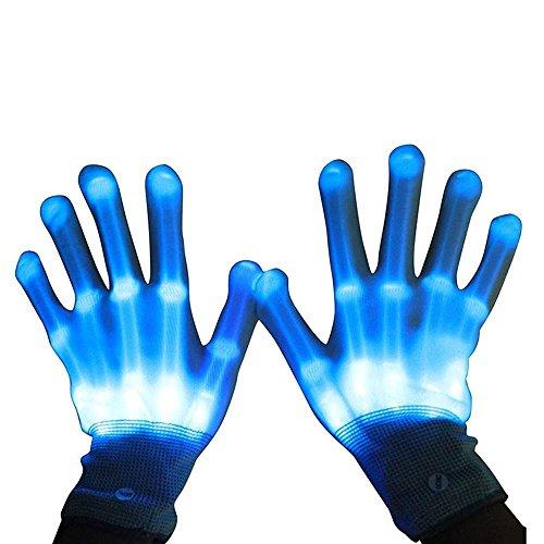 (Womdee LED Skeleton Hand Handschuhe 8 Farbe Veränderbare Hand Blinklicht für Halloween, Club, Geburtstag, EDM, Disco und Party)