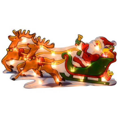 igh Reindeer Silhouette Christmas Window Decoration Lights by XS-Stock (Santa Sleigh Silhouette)