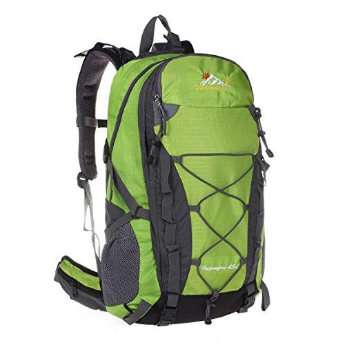 Outdoor Wasserdicht Nylon Bergsteigen Rucksack 45L Paar Tasche Green