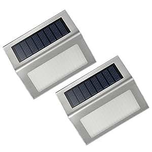 Lampada Wireless ad Energia Solare Esterna in Acciaio Inox a LED per Scale L, Percorsi, Piattaforma, Patio, giardino, ecc - 2 Pezzi