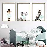 Nordic Ideas 3 Dessins Animaux Girafe Zèbre Koala Affiches Decoration Chambre Bebe Tableau Enfants Décorations Murales Impression sur Toile sans Cadre PTANB005-M