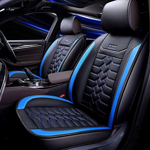 H.aetn Autositzbezug-Set aus Leder, Universal 5-Sitzer-Sitzkissen für die Vordersitze und den Rücksitz Sitzbezüge Sitzschutz (Farbe: Blau)