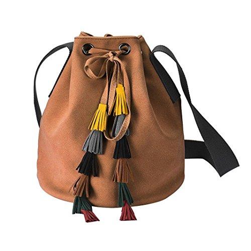 kingko® Art und Weiseschulter Troddel Beutel Frauen Leder Handtaschen Tote Geldbeutel Kurier Beutel (Braun) (Drawstring Handtasche Troddel)