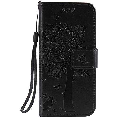 Price comparison product image iphone 7 plus Case Leather [Black], Cozy Hut [Wallet Case] Premium Soft PU Leather Notebook Wallet Embossed Flower Tree Design Case with [Kickstand] Stand Function Card Holder and ID Slot Slim Flip Protective Skin Cover for iphone 7 plus 5,5 inch (Not For iphone 7 4,7) - Black