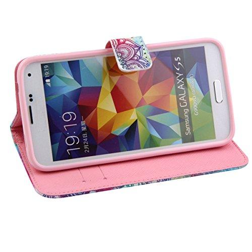 Coque pour Samsung Galaxy S5, ISAKEN Élégant Style PU Cuir Flip Magnétique Portefeuille Etui Housse de Protection Coque Étui Case Cover avec Stand Support pour Samsung Galaxy S5 SV I9600 G900 (#24) #18
