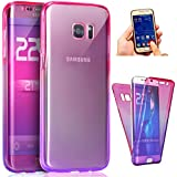 JAWSEU Coque Étui pour Samsung Galaxy S7 Ttansparent Ultra Mince TPU Portable Coque Avant et arrière 360 degrés de protection,2017 Neuf Style Changement Graduel Coloré Femme Fille Homme Fashion Luxe élégant Etui Flexible Souple Doux Coque Slim Soft Gel Cover en Silicone Caoutchouc Cas Flash Cristal Clair Clear Coquille Couverture Etui Tpu Bumper Scratch Resistente Shockproof Case Cover+4*Noir Stylo Paillettes-Rose+violet